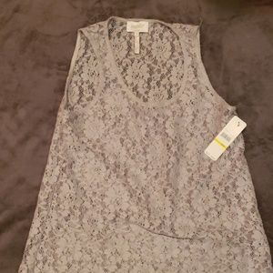 Sheet lace sleeveless blouse